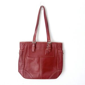 Authentic Red Leather Coach Shoulder Bag